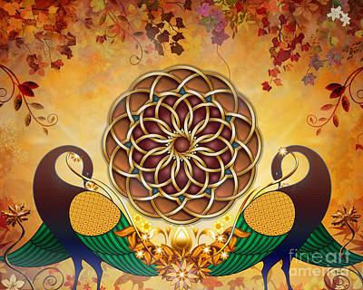 Whimsy Mixed Media - Autumn Serenade - Mandala Of The Two Peacocks by Bedros Awak