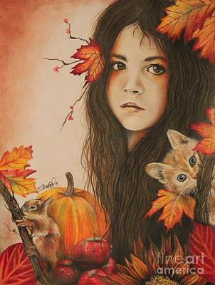 Cat Drawing - Autumn by Sheena Pike