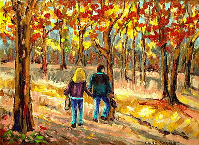 Montreal Streetlife Painting - Autumn  Stroll On Mount Royal by Carole Spandau