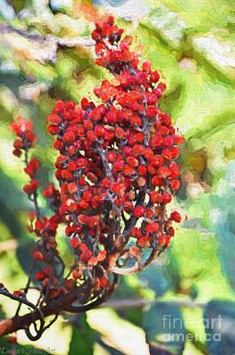 Autumn Sumac Fruit - Digital Paint Print by Debbie Portwood