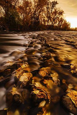 Autumn Sunrise Along Boise River In Boise Idaho Print by Vishwanath Bhat