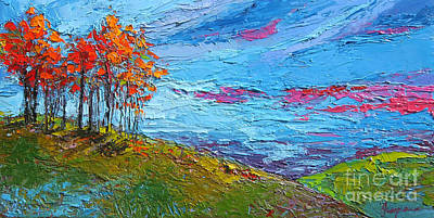Autumn Sunset - Modern Impressionist Palette Knife Oil Painting Print by Patricia Awapara