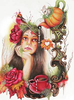 Autumn Drawing - Autumn Tea  by Sheena Pike