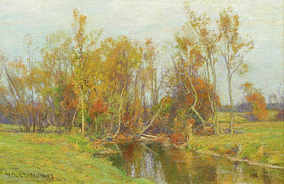 Hugh Bolton Jones Painting - Autumn Trees Along A Stream by Hugh Bolton Jones