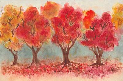 Autumn Trees Original by Jennie Hallbrown