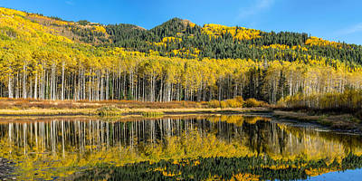 Autumn Trees Reflecting On Willow Lake In Utah Print by James Udall