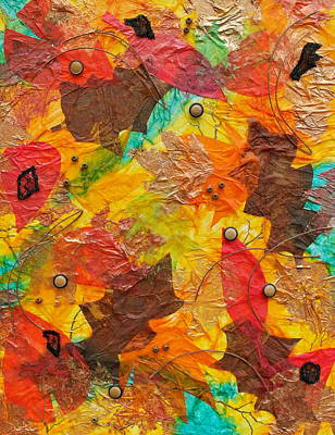 Leaf Stencil Mixed Media - Autumn Leaves Underfoot by Michele Myers