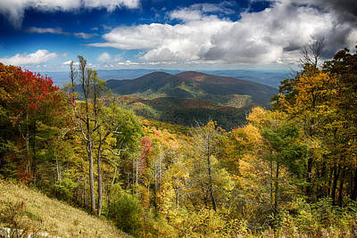 Leaves Digital Art - Autumn Views From The Blue Ridge Parkway by John Haldane