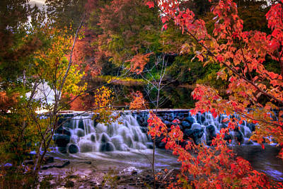 Autumn Waterfall - New England Fall Foliage Print by Joann Vitali
