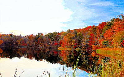 Red Painting - Autumn With Colorful Foliage And Water Reflection 4 by Lanjee Chee