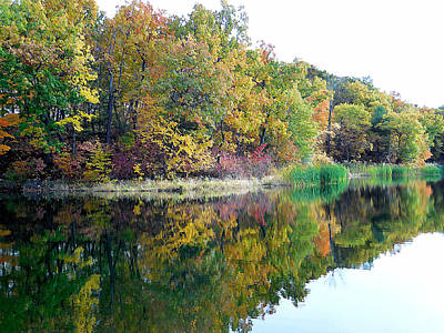 Autumn With Colorful Foliage And Water Reflection 6 Print by Lanjee Chee