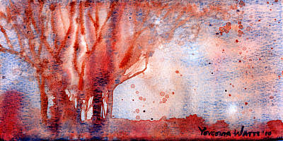 Wet Into Wet Watercolor Painting - Autumn by Yevgenia Watts