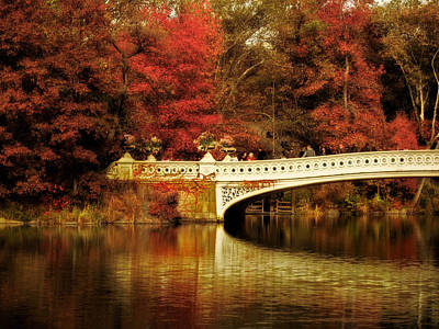 Red Leaf Digital Art - Autumnal Bow Bridge  by Jessica Jenney