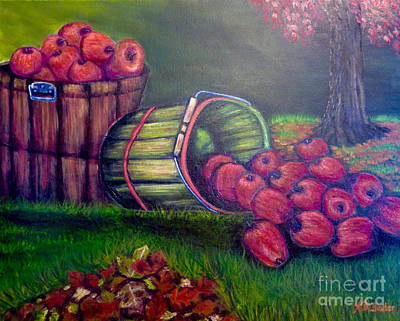 Still Life With Green Apples Painting - Autumn's Bounty In Tennessee by Kimberlee Baxter