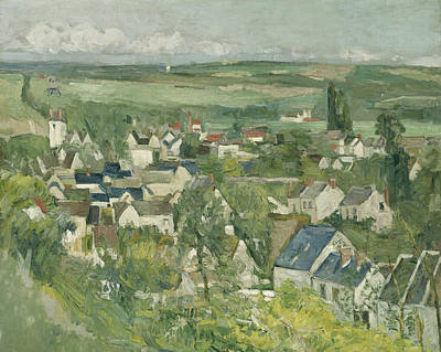 Looking Down Painting - Auvers, Panoramic View by Paul Cezanne
