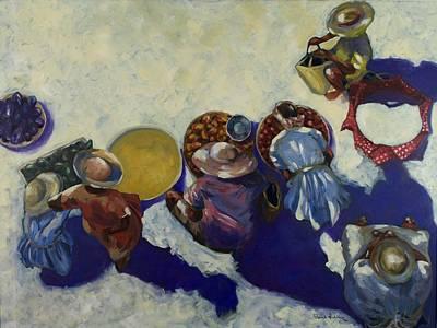 Arial View Painting - Aux Maraicheres De Port Au Prince by Franck Hodelin