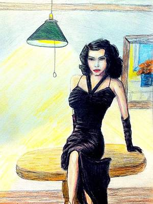 Frank Sinatra Drawing - Ava Gardener by Larry Lamb