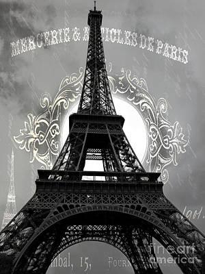 Surreal Paris Decor Photograph - Avant Garde Eiffel Tower Black And White Decor - Paris Black White Eiffel Tower French Script  by Kathy Fornal