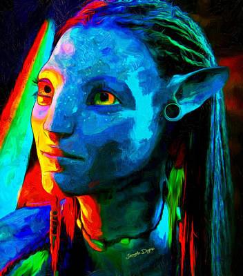 Head Digital Art - Avatar  - Van Gogh Style -  - Da by Leonardo Digenio