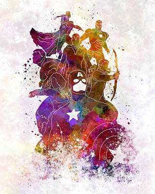 Avengers 02 In Watercolor Print by Pablo Romero