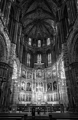 Avila Cathedral Bw Print by Joan Carroll