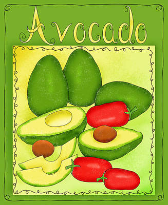 Tex-mex Painting - Avocados Green With Words by Phyllis Dobbs