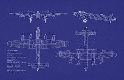 Blueprint Digital Art - Avro Lancaster Bomber Blueprint by Michael Tompsett