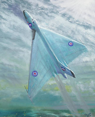 Soaring Painting - Avro Vulcan B1 Night Flight by Vincent Alexander Booth