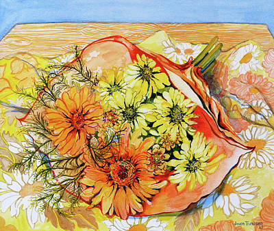 Marigolds Painting - Awaiting Arrangement by Joan Thewsey