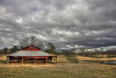Awaiting Spring The Red Barn Print by Reid Callaway
