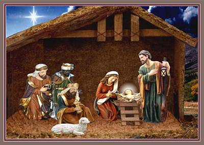 Away In The Manger Print by Ron Chambers