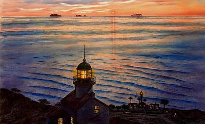 San Diego Artist Painting - Awesome Sunset At Pt. Loma Lighthouse by John YATO