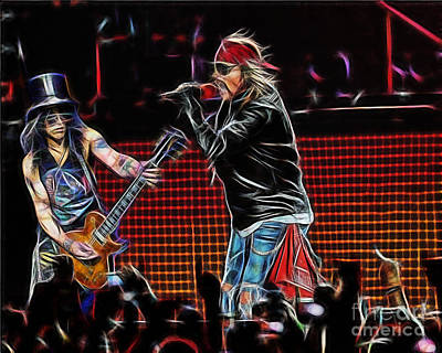 Axl Rose And Slash Guns N Roses Print by Marvin Blaine