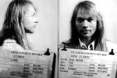 Axl Rose Mug Shot 1992 Horizontal Photo Print by Tony Rubino