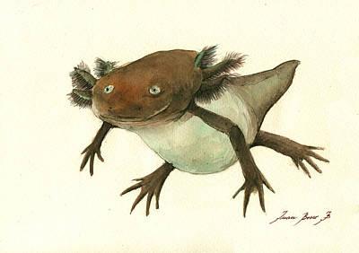 Salamanders Painting - Axolotl by Juan Bosco