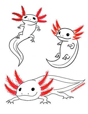 Python Drawing - Axolotls by Joe Richichi