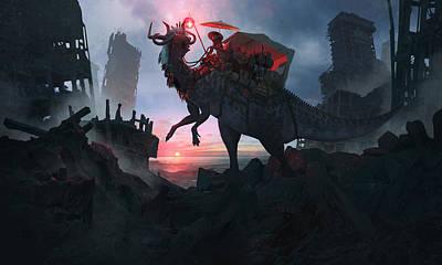 Dinosaur Digital Art - Ayanami Sunrider by Guillem H Pongiluppi