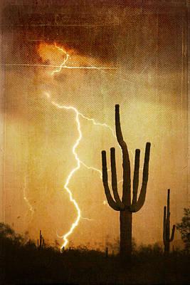 Az Saguaro Lightning Storm V Print by James BO  Insogna