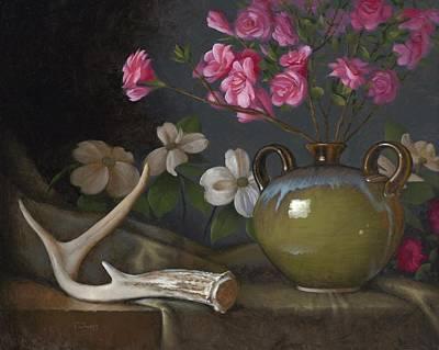 Old Vase Painting - Azaleas And Dogwood by Timothy Jones