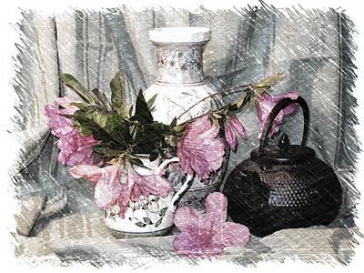 Azaleas And Teapot Print by Pat Exum