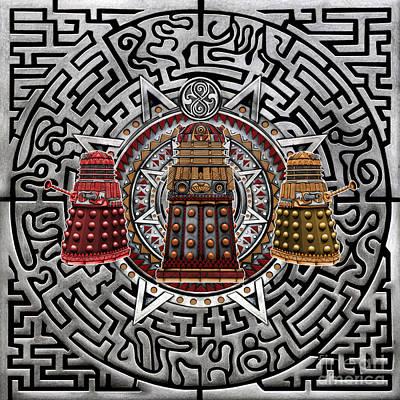 Fandom Drawing - Aztec Dalek by Three Second
