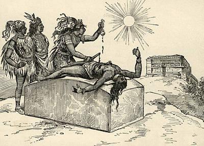 Aztec Priest Performing Sacrifice Print by American School
