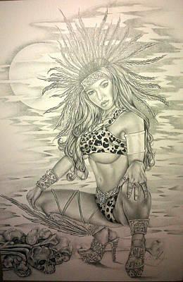 Aztec Princess Print by Carlos Mendoza
