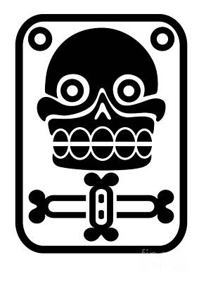 Precolumbian Drawing - Aztec Stamp With Skull by Michal Boubin