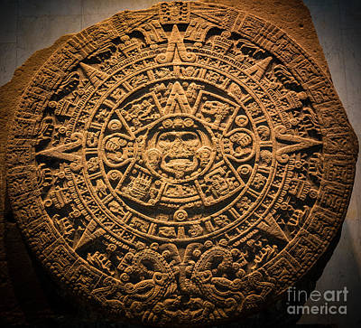 Aztec Stone Of The Sun  Print by Inge Johnsson