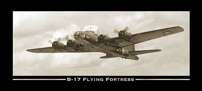Fighters Digital Art - B-17 Flying Fortress Show Print by Mike McGlothlen