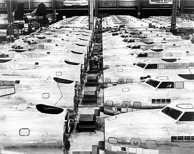 Large Group Of Objects Photograph - B-17 Fortress Factory by Underwood Archives