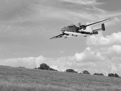 B25 Photograph - B-25 Warbird Returns - Black And White by Gill Billington
