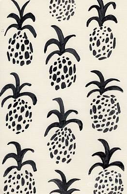 Pineapple Painting - B And W Pineapple Print by Anne Seay