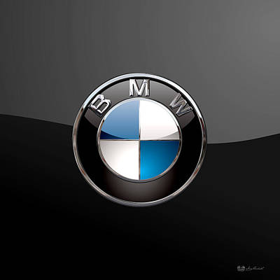Bavarian Digital Art - B M W - 3d Badge On Black by Serge Averbukh
